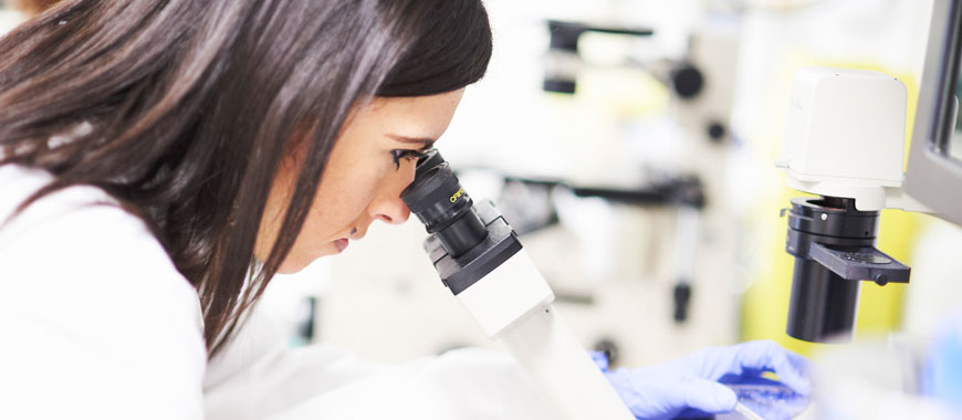 Research we're funding in Southampton - Image of a female researcher looking into a microscope