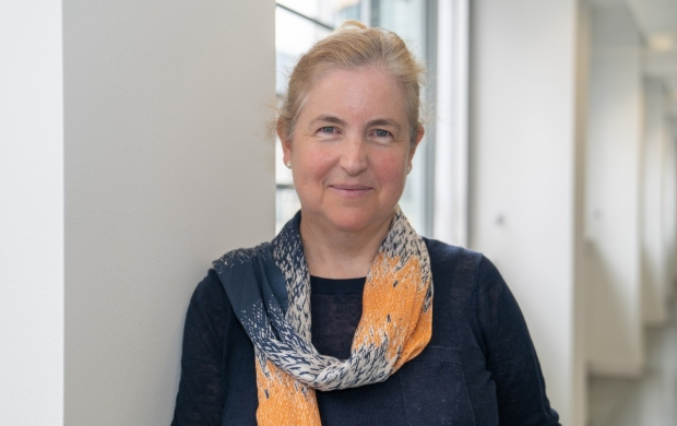 Professor Deborah Fenlon, a white woman with blonde hair, wears a yellow scarf and blue jumper