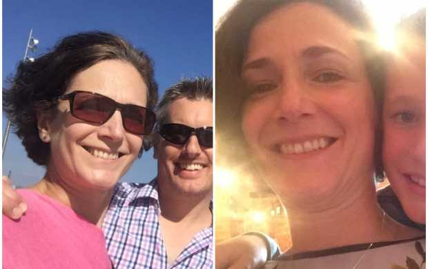 A split image of Anne, a white woman with short, dark hair. First, she is smiling in the sunshine with her partner, then, in the next image, with her son.