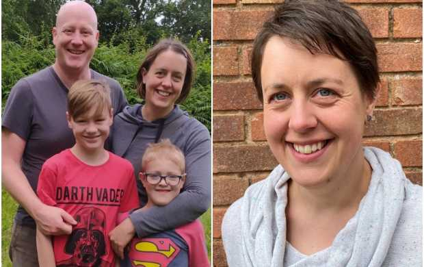 A split image - first, showing Emma standing with her husband and two children, then by herself against a brick wall - her brown hair is cropped short and she is smiling