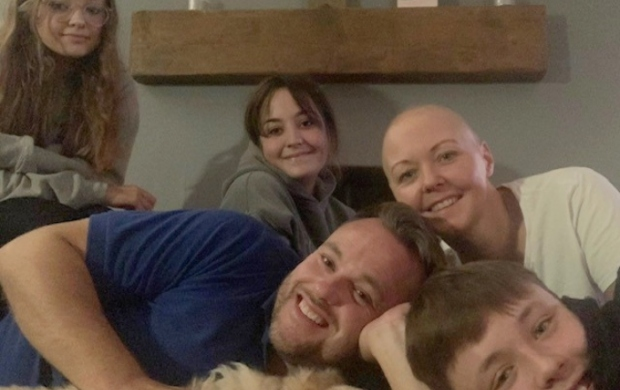Heidi with her husband and three children after chemo treatment