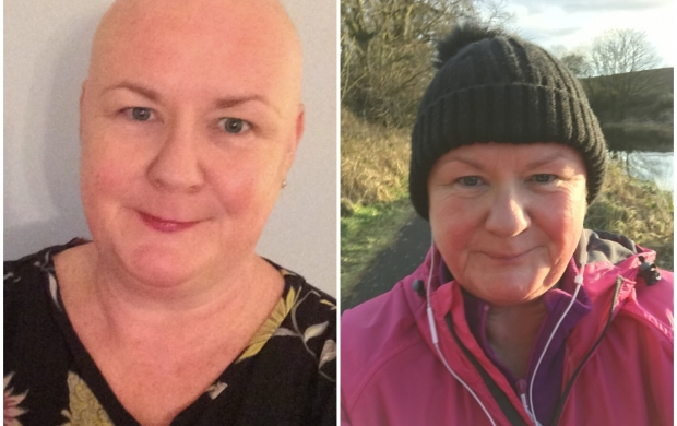 A split image of Helen in treatment with no hair, and then later out on a walk