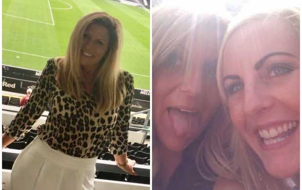A split image - first, showing Jacqui posing at a football stadium in a leopard print top, then smiling with her friend, Emma