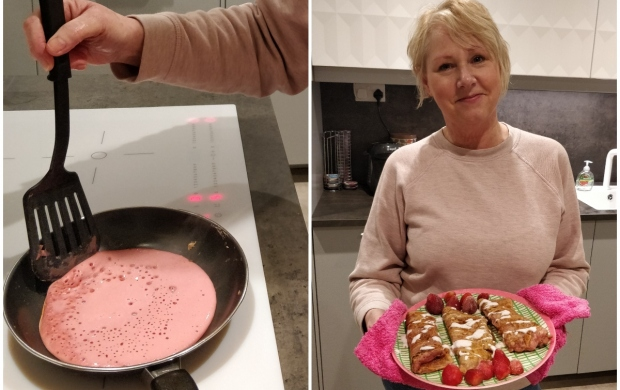 A split image - first showing Linda cooking pink pancakes, and then her holding up a plate of the finished product with berries on the side