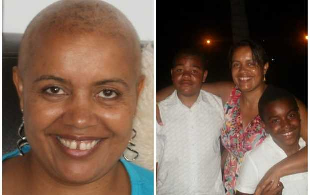 A split image - first, showing Lorraine, a Black woman with a shaved head, in treatment. The second image shows her shortly before that, on holiday with her two boys.