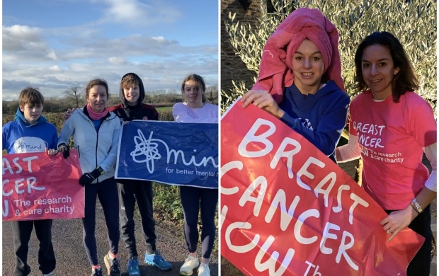 Two images: one shows Ruth with her three children after finishing her marathon, the other shows her and her daughter holding up a sign for Breast Cancer Now