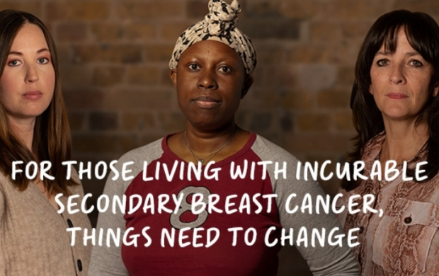 Three women with secondary breast cancer stand together as part of the Unsurvivors campaign