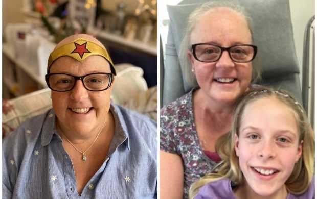 A split image - first, showing Vicks, a white woman, with a shaved head and a wonder woman headband. In the next image she is smiling with her daughter, Poppy.