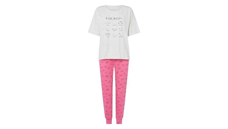 Set of pyjamas with quirky boob drawings