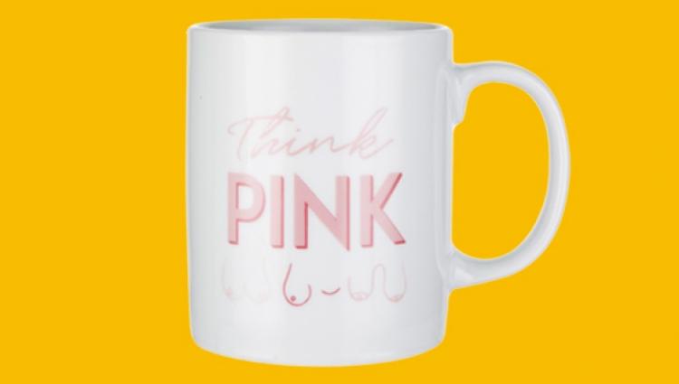 Tickled pink think pink mug