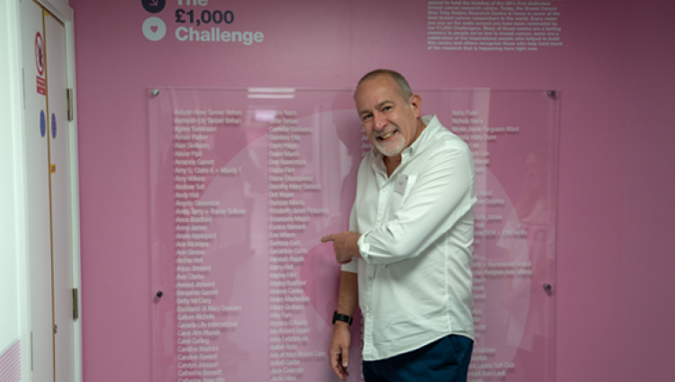 Johnny and the Breast Cancer Now Tony Robins Research Centre challenge wall.