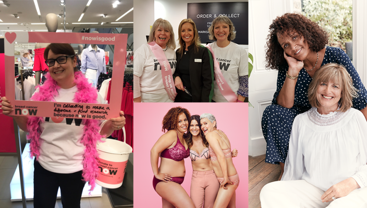 Several images showing women involved in supporting Breast Cancer Now with M&S