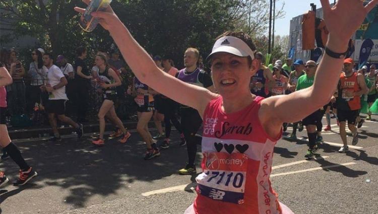 Sarah running the marathon