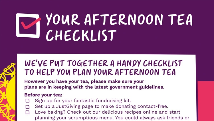 Afternoon Tea checklist