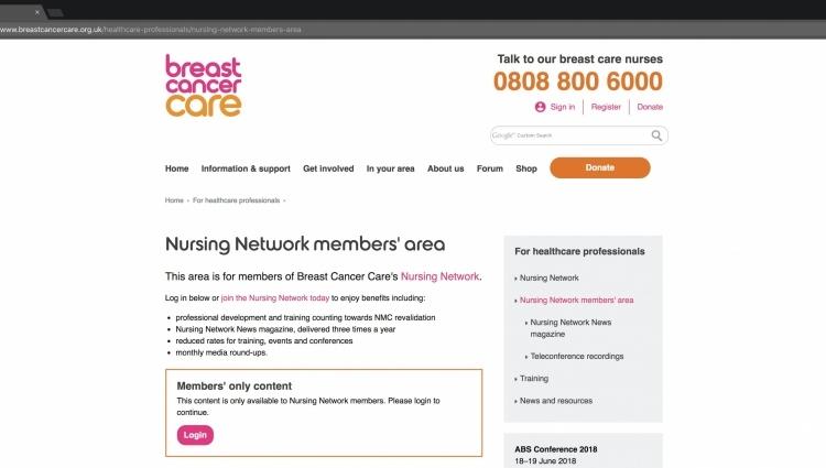 image of Nursing Network members' area