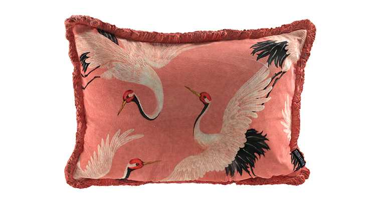 pink cushion with bold bird details