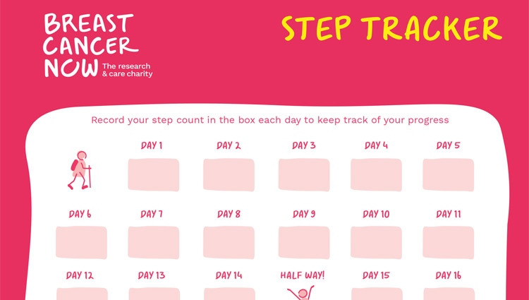 Breast Cancer Now step tracker