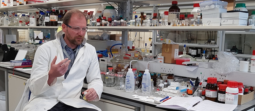 Dr Klaus Pors in his lab