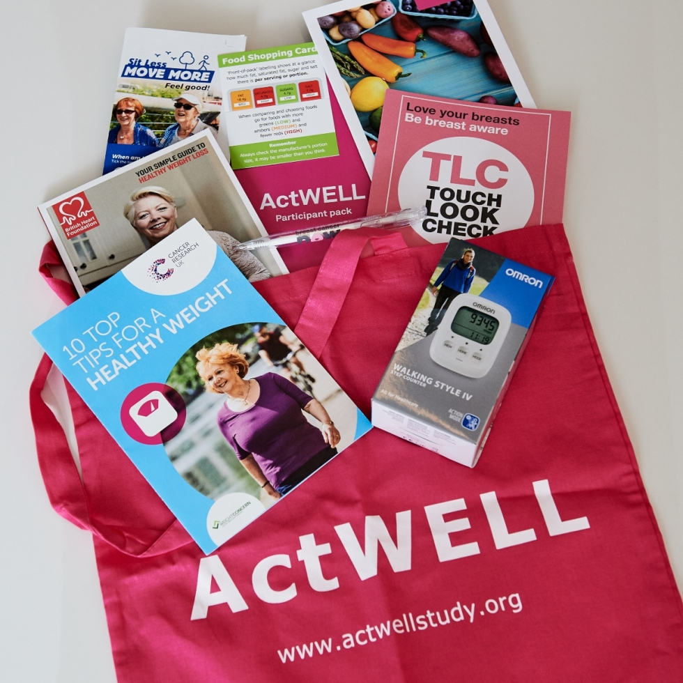 ActWELL pack, which includes information leaflets and a pedometer