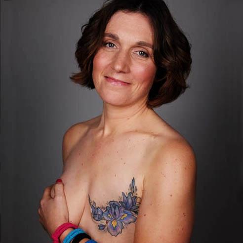 Kerry's iris design mastectomy tattoo