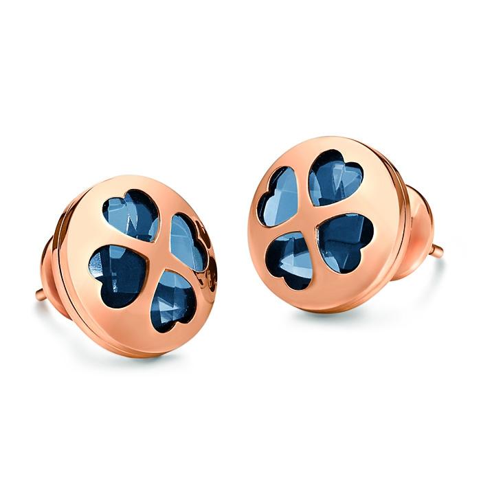 folli follie heart4heart win earrings rose gold navy blue crystal