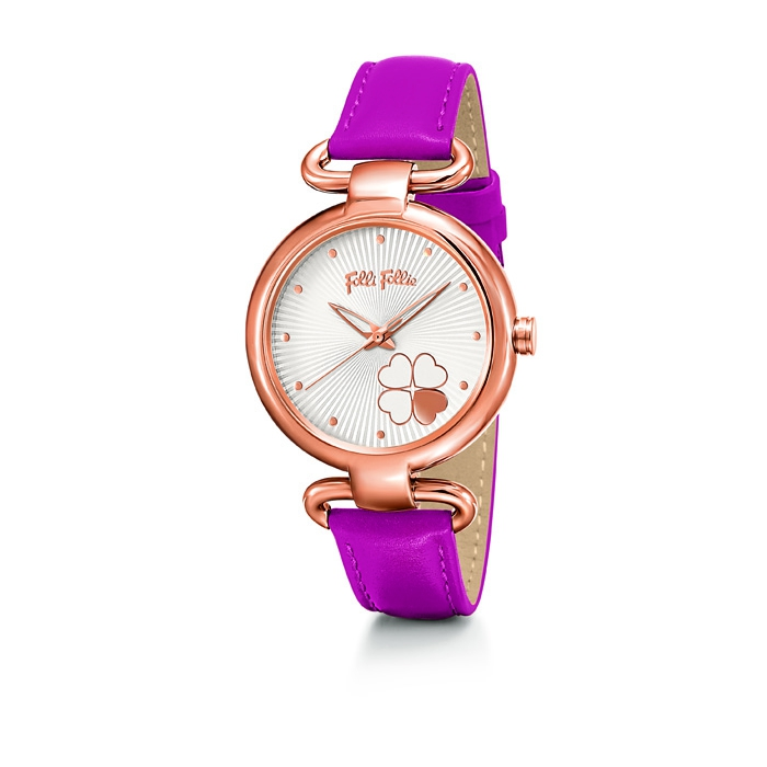 folli follie heart4heart Classy watch with pink leather strap