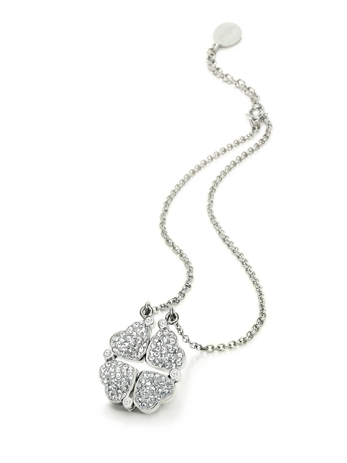 folli follie heart4heart magnetic clasp necklace silver crystal