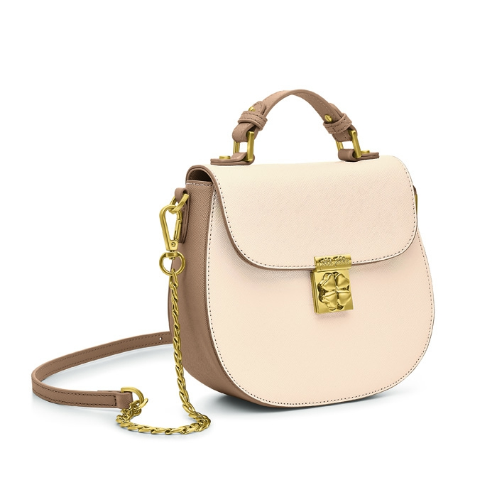 folli follie heart4heart cream mini shoulder bag