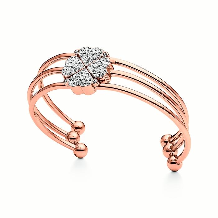 folli follie heart4heart magnetic string bracelet rose gold clear stone