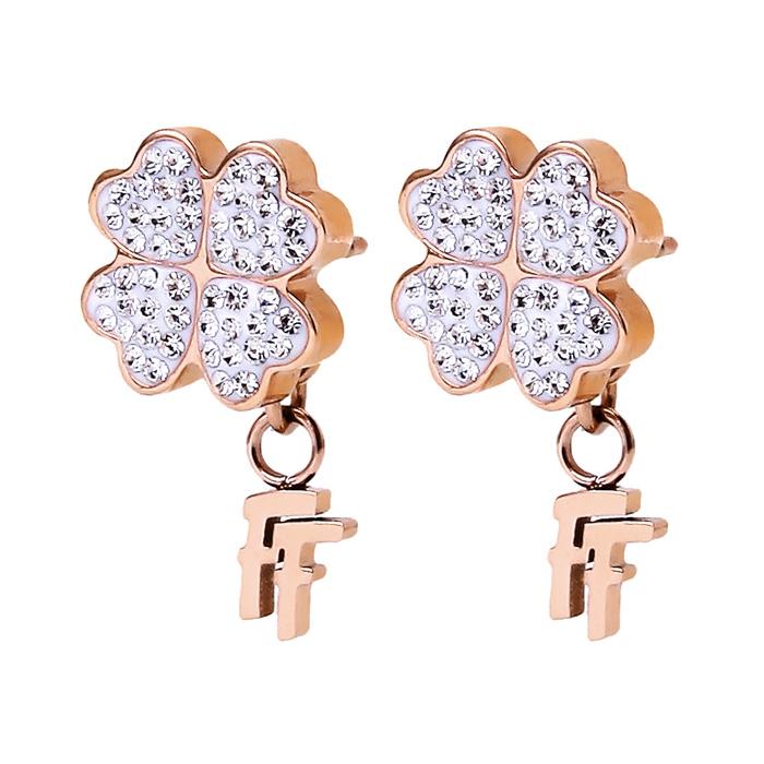 folli follie heart4heart earrings rose gold clear crystal