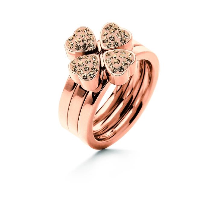 folli follie heart4heart ring rose gold champagne crystal