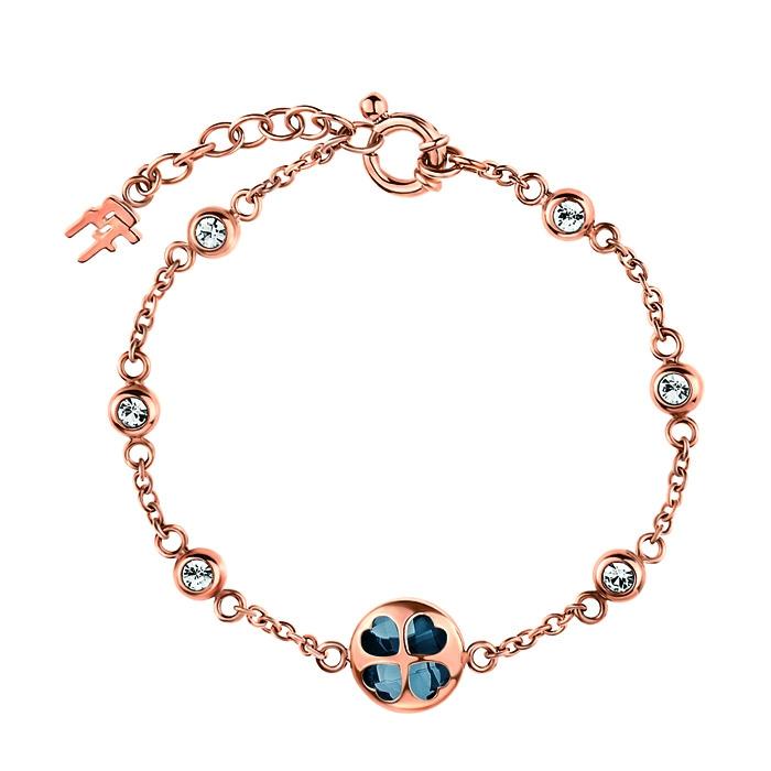 folli follie heart4heart rose gold win bracelet with navy-blue crystal