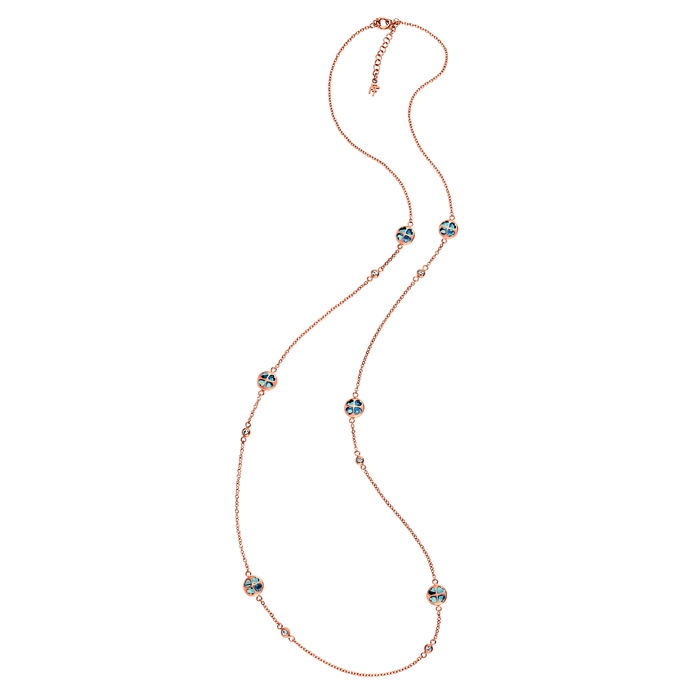 folli follie heart4heart rose gold win long necklace with navy-blue crystal