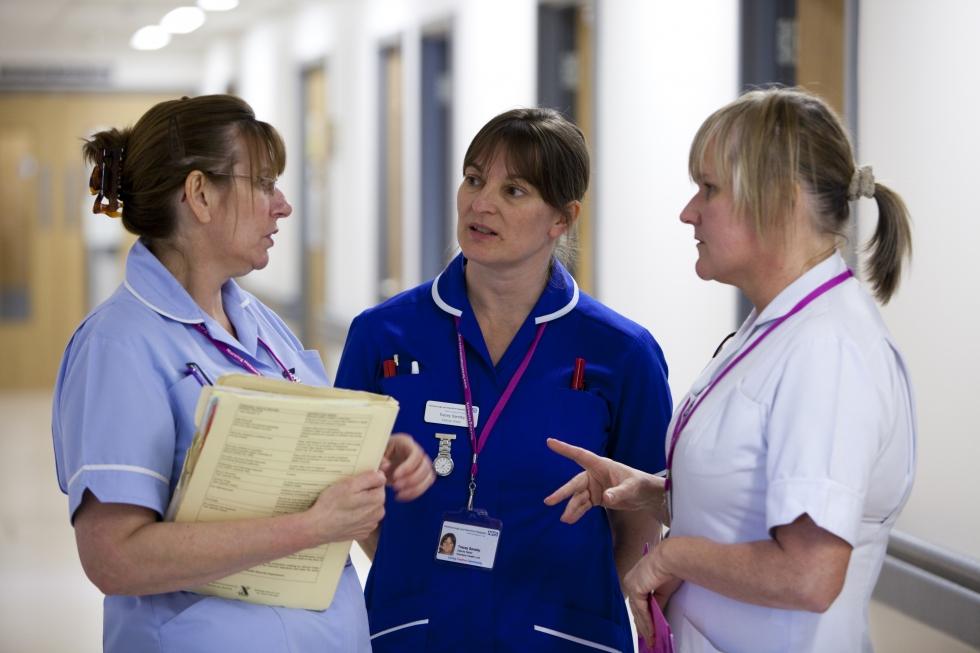 group of nurses talking