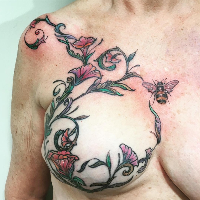Bee and flower breast reconstruction tattoo