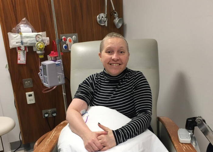 A woman, lucy, having chemotherapy treatment