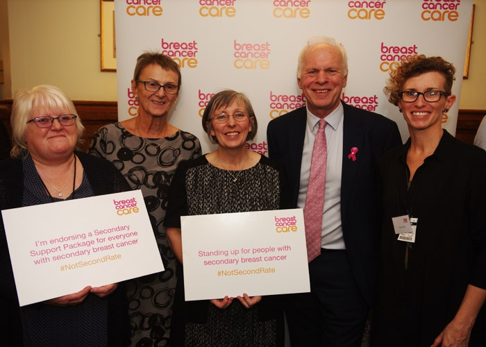 Nic Dakin MP, Chair of the All-Party Parliamentary Group on cancer with secondary breast cancer nurses and patient representatives