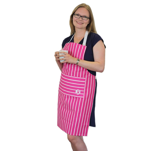 Breast Cancer Care pink ribbon apron