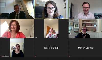 A screenshot of a Zoom call between the shadow health team, our policy team, and women affected by secondary breast cancer
