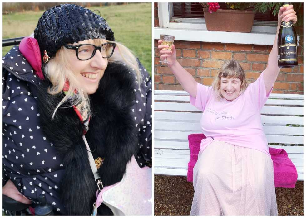 A split image - first, showing Suzanne wrapped up in her winter coat, and then with her dressed in pink and holding up a bottle of champagne to celebrate the end of her treatment.