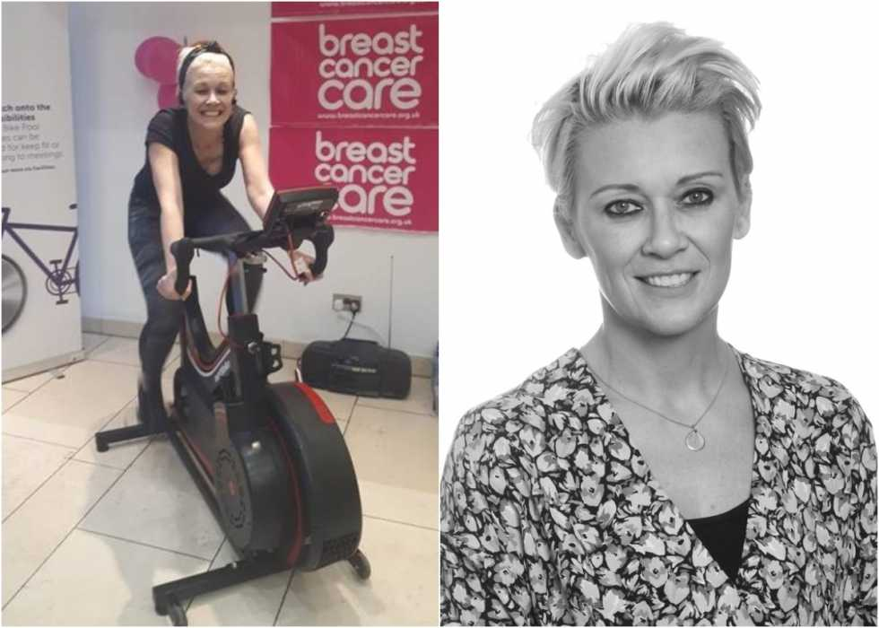 A split image - first, showing Toria cycling on a standing bike in her office, then her professional headshot. Toria is slim and white with cropped blonde hair.