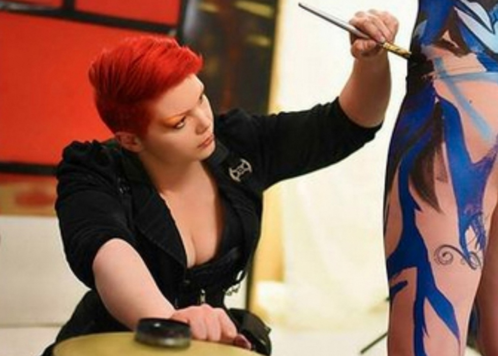 Victoria painting a model