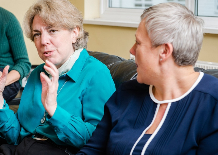 Women discussing at a secondary breast cancer event