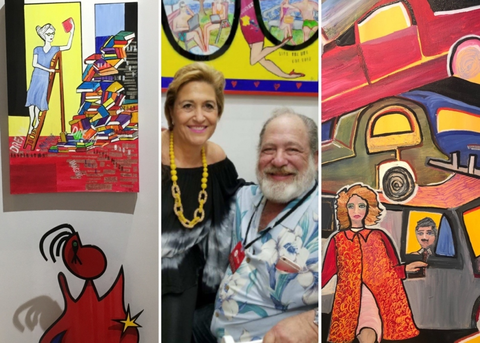 Amanda with some of her artwork, which is brightly coloured and depicts people