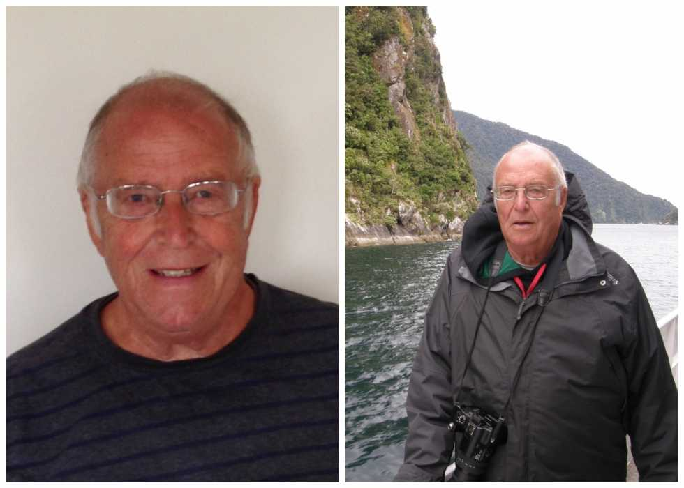 A split image - first, showing Tony, an older white man, smiling at home, and then a picture of him out on a boat with the coastline behind him
