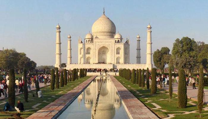 The Taj Mahal in India on a sunny day