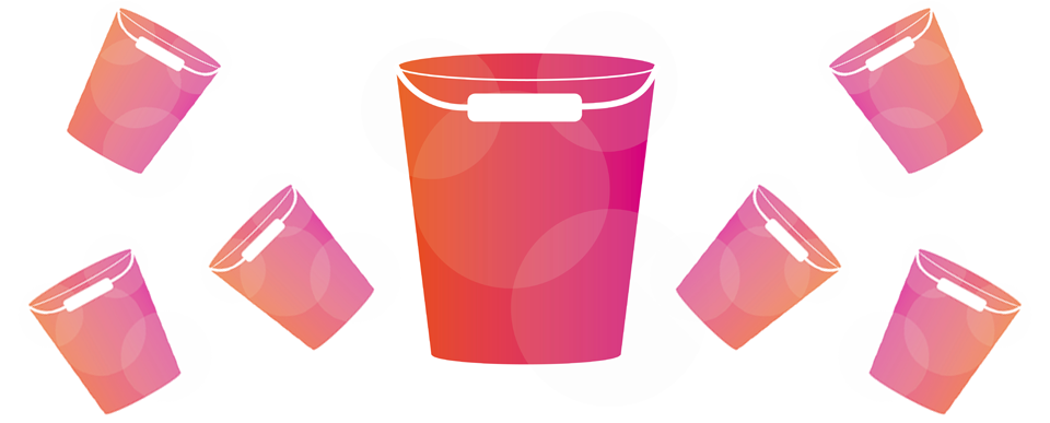 An illustration pink and orange buckets