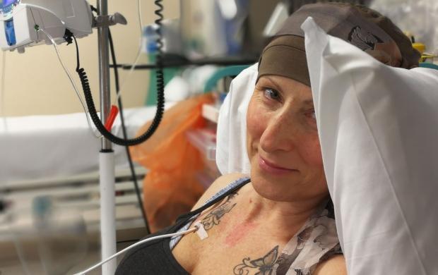 Edwina in hospital receiving treatment