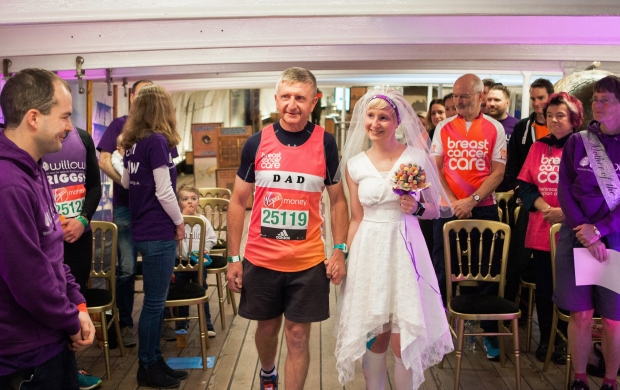 Jackie ran the London Marathon on her wedding day