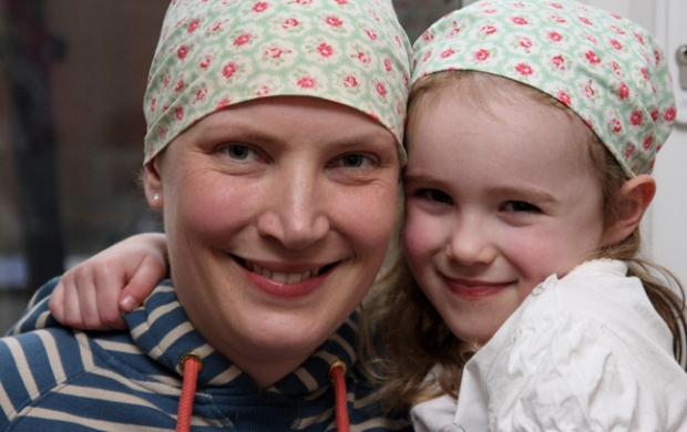 Janine and her daughter in head scarves